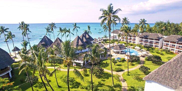 4* exotický resort na Zanzibaru: 6–12 nocí přímo na pláži, all inclusive, fitness