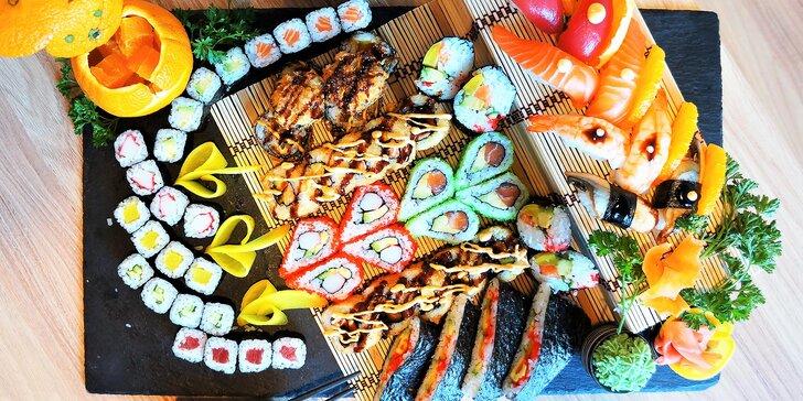 Pestré a efektně servírované sushi sety v centru Brna: 22–64 ks vč. smažených