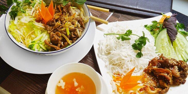 Tradiční vietnamská kuchyně v centru: rýžové nudle s masem a omáčkou nebo Phó