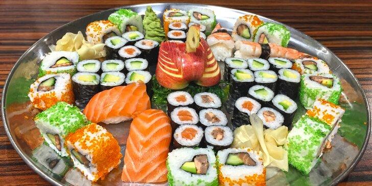 Asijská hostina: 24–52 ks sushi s lososem, krevetami i vegetariánských