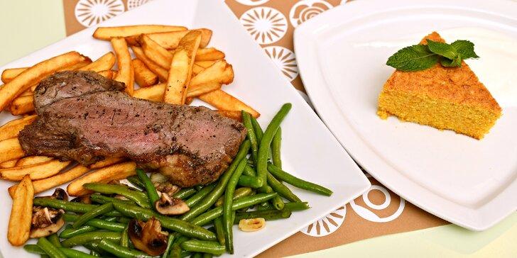 Steak z amerického býčka, příloha dle výběru, salát a dezert