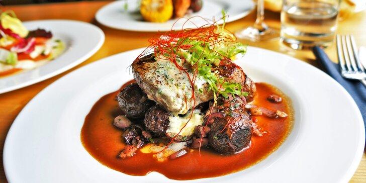 Kavkazské 3chodové menu: hovězí steak či grilovaný losos