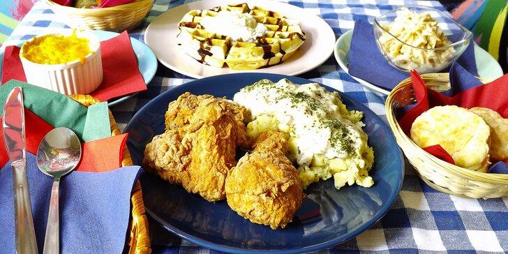 Jižanská hostina ve stylu New Orleans: mac & cheese, smažené kuře i waffle