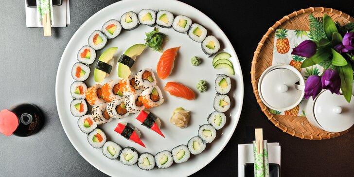 Asijská restaurace: 38 až 60 ks sushi s lososem, úhořem, tuňákem i avokádem