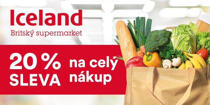 20% sleva na celý nákup v britském supermarketu Iceland v Praze a Pardubicích