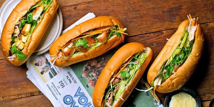 Vietnamská bageta s vepřovým, hovězím nebo kuřecím masem či s tofu a houbami pro 1 i 2 osoby