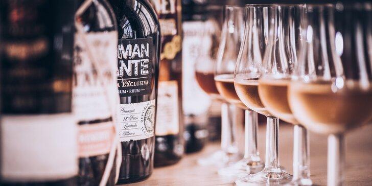 Degustace prémiových rumů: vzorky z Venezuely, Barbadosu, Panamy i Kuby