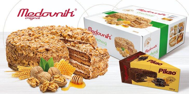 Medovník originál: celý ořechový dort Premium a kousek medovníku Pikao
