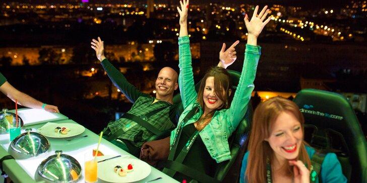 Exkluzivní 4chodová večeře od špičkového šéfkuchaře podávaná 50 metrů nad rozsvícenou Prahou