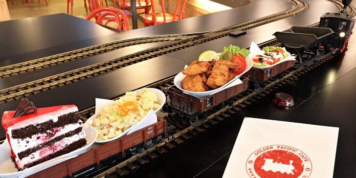Dnes obsluhuje vlak: předkrm, hlavní chod a dezert pro 1 nebo 2 osoby