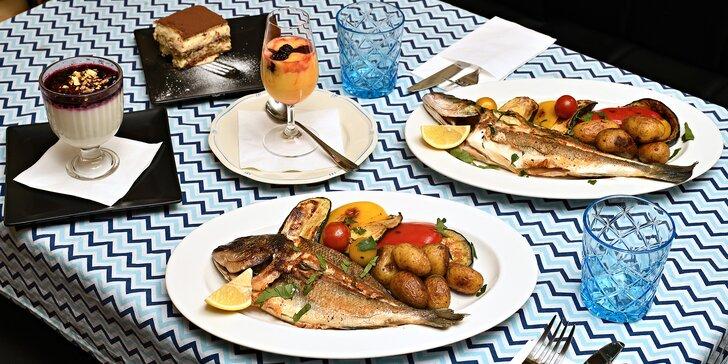 Degustační menu pro 2 osoby: marinovaná chobotnice i mořský vlk na grilu