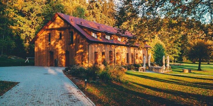 Nádherné ubytování v přírodě s polopenzí, vínem a privátním wellness