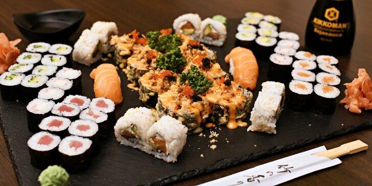 Rolované dobroty: sushi sety 24–58 ks s lososem, tuňákem i krémovým sýrem