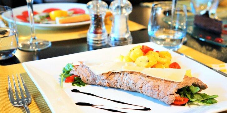 3chodové masové menu: telecí řízek na grilu i řez z belgické čokolády