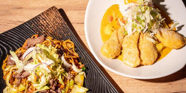 Asijské jídlo podle výběru: restované nudle, hovězí s rýží i tofu s phở vývarem