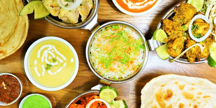 3chodové indické menu pro dva: masové nebo vegetariánské podle výběru