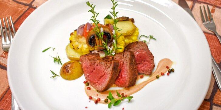 5chodové degustační menu se steakem Chateaubriand z býčí svíčkové pro 2 osoby