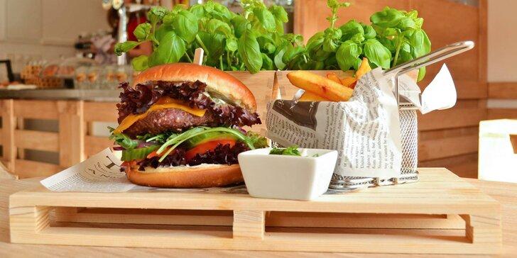 Burger výběrem ze 4 druhů, farmářské hranolky, omáčka a nápoj pro 1 i 2 os.