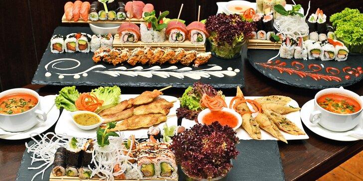 Sushi menu na Novém Městě: 24–57 rolek, saláty, závitky i kuřecí špízy