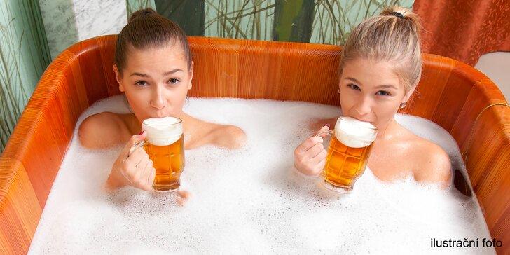 Podhorská pivní lázeň s neomezeným pitím piva a 3chodová večeře pro dva