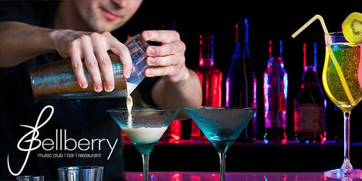 4 koktejly dle výběru v music clubu Bellberry