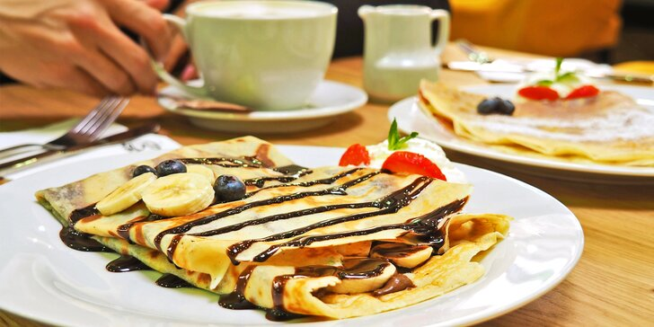 Domácí palačinka od Buddyho a káva dle výběru: lungo, cappuccino i latté