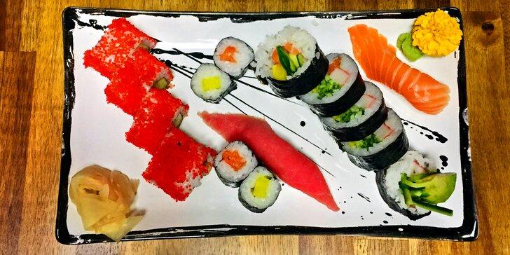 B&B Sushi Bar: 10 až 14 kousků, v nabídce i vege set a set s vínem