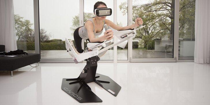"""Cvičení i zábava: 25 min. na """"létacím"""" stroji Icaros s virtuální realitou"""