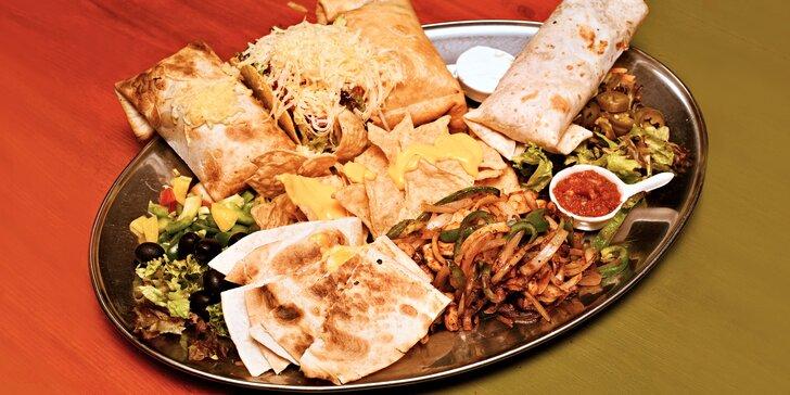 Degustační mexické menu pro 2 nebo 3–4 osoby: tacos, quesadilla i steaky