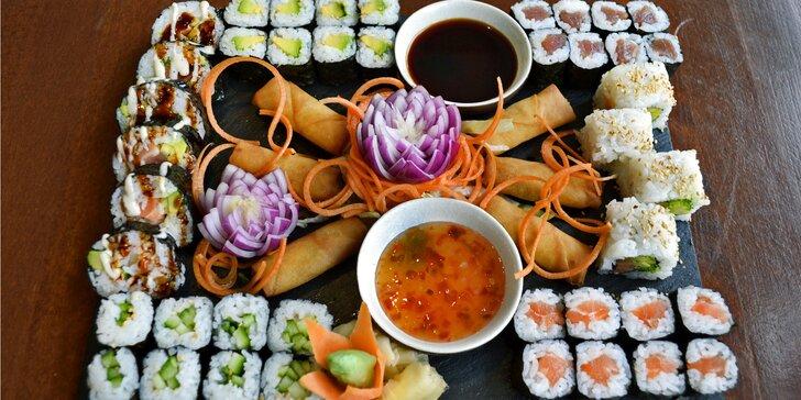 Set s 24–56 kusy sushi včetně miso shiru polévek a jarních vege závitků