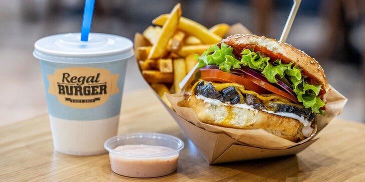 Burgerové menu s hranolky a bezedným nápojem pro 1 nebo 2 osoby