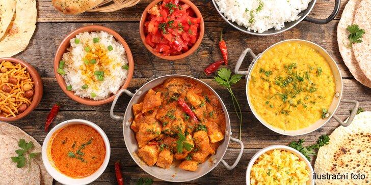 Indické menu pro 2 os. v centru Znojma: výběr z 22 hlavních jídel, sýr paneer či kuřecí, pakora