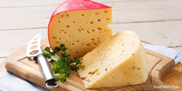 Velký či malý balíček sýrů: gouda s pestem i bylinkami a fíkový i brusinkový dip