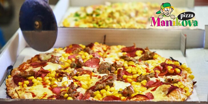 Dvě poctivé Maníkovy pizzy: na výběr 15 druhů, rozvoz i krabice v ceně