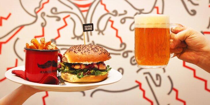 25% sleva na celý sortiment bistra Kaiser Franz na Vinohradech: libové burgery i hranolky s sebou