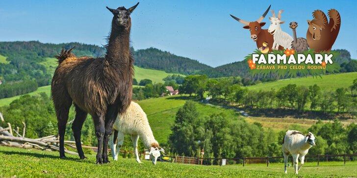 Rodinný vstup do Farmaparku Soběhrdy včetně atrakcí: jízdy vláčkem a tubing