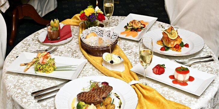 Dokonalá večeře pro 2 os. v hotelu General: hovězí steak či máslová ryba a další chody