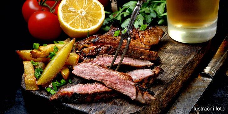Masové prkno pro 2 nebo 4 osoby: příloha, hořčice, křen, pivo i pečivo