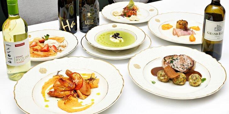5* degustační menu pro dva v Grandhotelu Bohemia: grilovaná šunka, jarní kuřátko i flambovaná palačinka