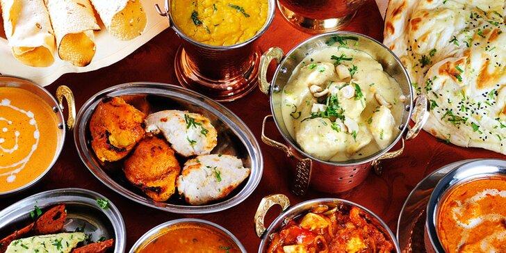 Indické dobroty pro 2 osoby: degustační menu se 3 hlavními chody i nápoje