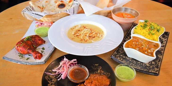 Indické menu s masem nebo bez: kuřecí tandoor, zeleninový madras, hovězí rezala a další pochoutky