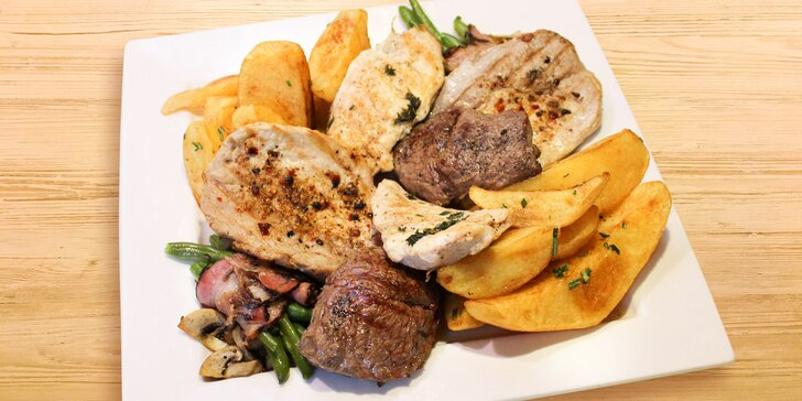 Grilovaný masový mix, salátek i domácí koláč v Dynamu: menu pro 1 i 2
