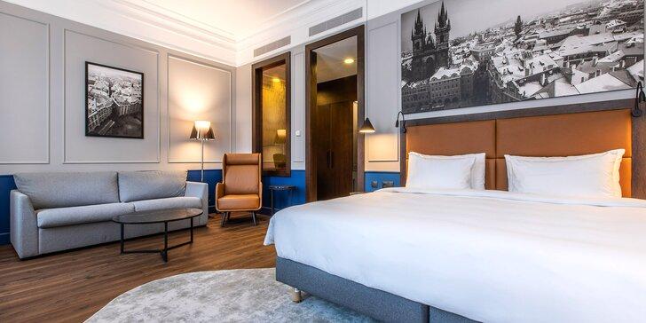 Moderní hotel v secesní budově blízko Václavského náměstí: snídaně a kredit na služby