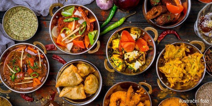 Dárkový voucher na jakékoli jídlo z menu indické restaurace v hodnotě 300, 500 či 1000 Kč
