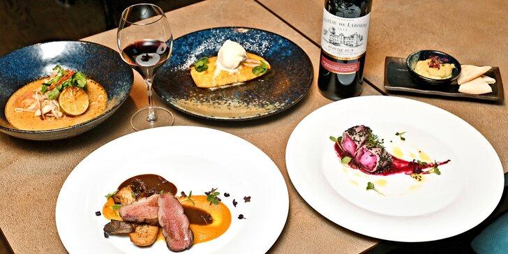 Degustační menu v kosmopolitní restauraci: s masem či vegetariánské i s vinným párováním