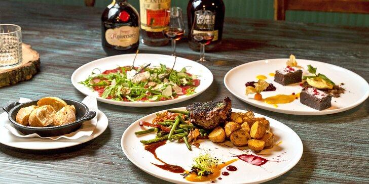 Tříchodové menu s carpacciem a biftekem a degustace rumů pro 2 osoby