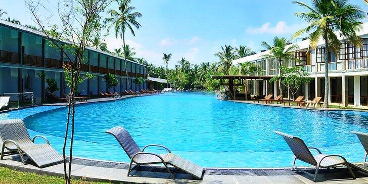 Exotická dovolená na Srí Lance: příjemný resort s bazény a soukromou pláží, snídaně i all inclusive