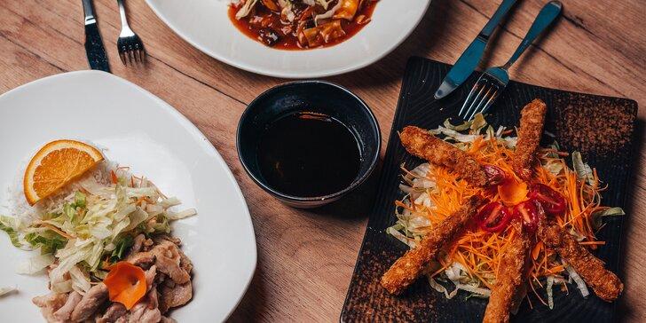 Asijské menu pro jednoho i dva: na výběr xap xúí a teriyaki omáčka, s masem nebo tofu či krevetami