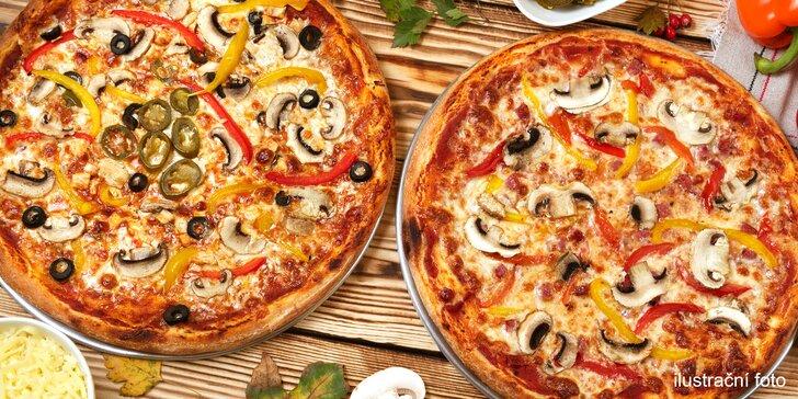 Dvě pizzy podle výběru ze 32 druhů s rozvozem po celém Brně