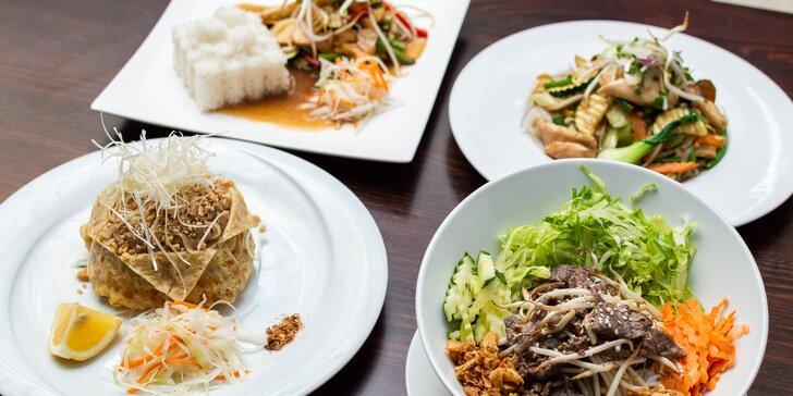 Bún bò nam bộ, kuřecí pad Thai, phở bo nebo kuřecí curry pro 1 i 2 osoby v centru